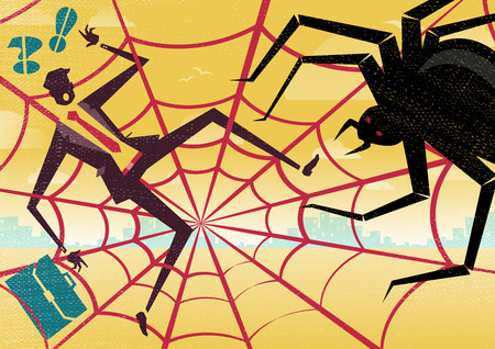 spider net: Great illustration of Retro Styled Businesswoman who caught up in a bureaucratic Spiders Web and looks like she is on the menu of a business lunch. Illustration