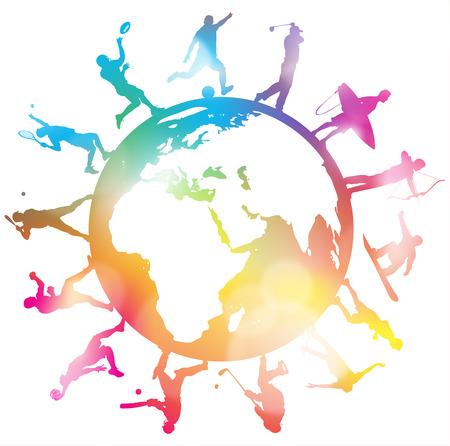 globe terrestre: Grande illustration de style r�tro affaires qui pris dans une Spiders bureaucratique Web et ressemble � ce qu'il est sur le menu d'un d�jeuner d'affaires.