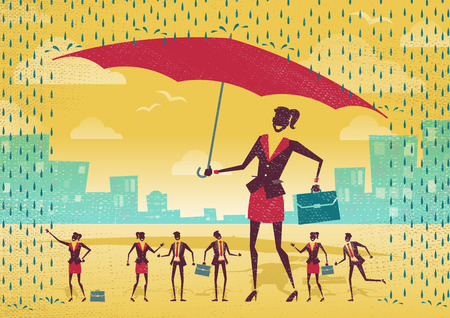 sheltering: Great illustration of Retro Styled Businessman who is helping his team to stay dry under his huge umbrella.