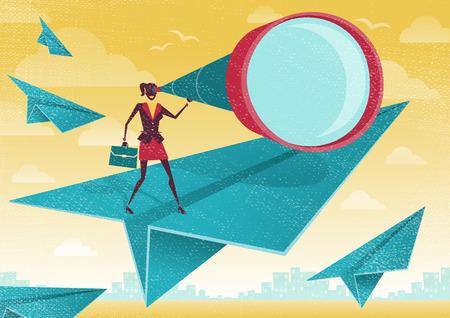 teleskop: Große Illustration von Retro-Stil Geschäftsfrau, die das Rennen ihres Lebens läuft mit ihr Geschäftstermin.