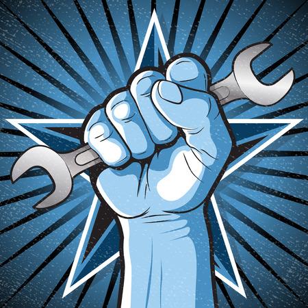 労働者の権利を象徴スパナを保持している拳パンチング ロシアのプロパガンダ スタイルの素晴らしいイラスト。
