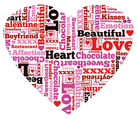 dating and romance: Heart Shaped Beautiful Valentine Themed Typographical Pattern made up of the many words representing Love and Affection.