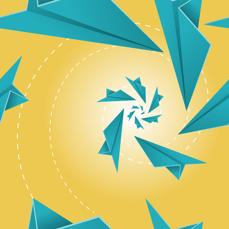 spiralling: Beautiful seamless tile depicting toy paper planes spiralling into each other.