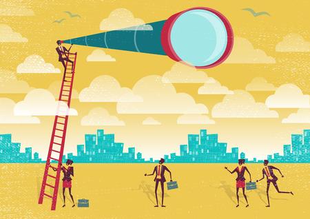 Große Illustration von Retro-Stil Geschäftsmann Klettern über den Wolken, um einen besseren Blick auf die Landschaft als seine Konkurrenten zu bekommen. Vektorgrafik