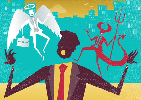 Great illustration of Retro styled Abstract Businessman caught up in a Catch-22 battle of wills with both a devil and an angel helping him to decide.