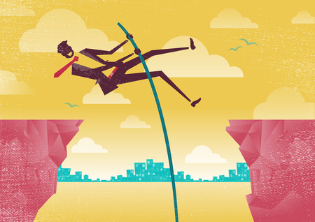 initiative: Great illustration of Retro styled Businessmen using his clever initiative to leap from one clifftop to safety.
