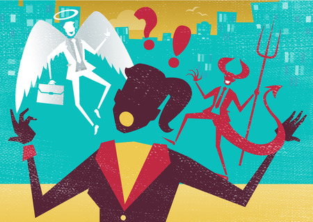 morals: Great illustration of Retro styled Abstract Businesswoman caught up in a battle of wills with both a devil and an angel helping her to decide.