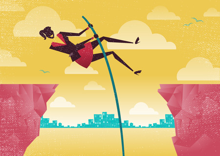 initiative: Great illustration of Retro styled Businesswomen using her clever initiative to leap from one clifftop to safety. Illustration