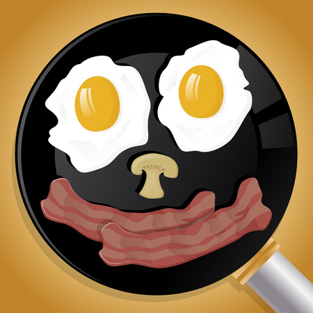 Illustration of a happy face made up from Bacon, Eggs and Mushrooms cooking away in a Frying Pan. Ilustração