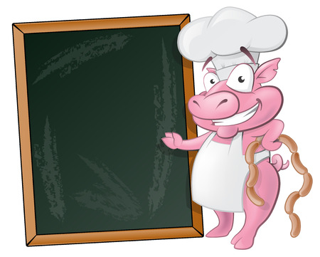 Illustration of a happy Pig Chef holding sausages standing next to Blank Chalkboard ready to cook some delicious food. Vector
