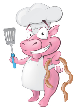 Illustration of a happy Pig Chef holding sausages and Spatula ready to cook some delicious food. Vector