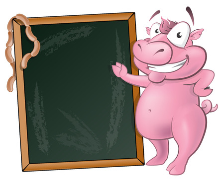 Illustration of a happy Pig standing next to Blank Chalkboard ready to sell some delicious Pork based products. Vector