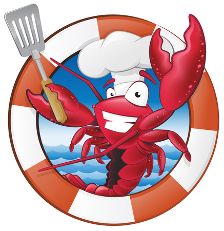 Great illustration of a happy lobster Chef holding a Spatula in Nautical Themed Frame ready to cook some delicious seafood. Illustration