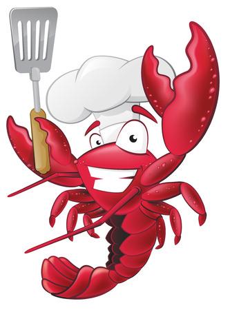 camaron: Gran ejemplo de un cocinero de la langosta feliz celebración de una espátula listo para cocinar unos deliciosos mariscos. Vectores