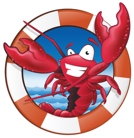 Great illustration of a happy lobster Chef holding a Spatula in Nautical Themed Frame ready to cook some delicious seafood. Vettoriali