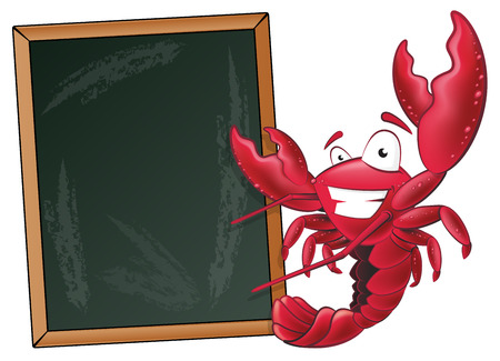 Great illustration of a happy lobster waving his pincers in the air next to a chalkboard.