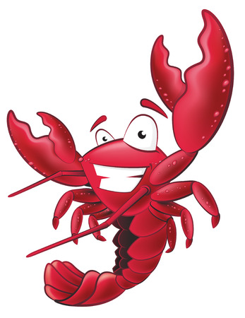 Great illustration of a happy lobster waving his pincers in the air. Vectores