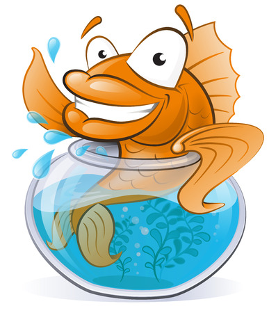 gold fish bowl: Great illustration of a Cute Cartoon Goldfish waving from the comfort of his Goldfish Bowl.