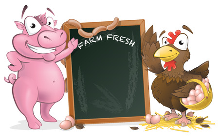 Great illustration of very happy looking Chicken and Pig characters standing next to a large chalkboard. Vector