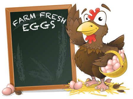 Great illustration of a very happy looking Chicken character displaying her Tasty Eggs in a wicker basket standing next to large chalkboard. Vector