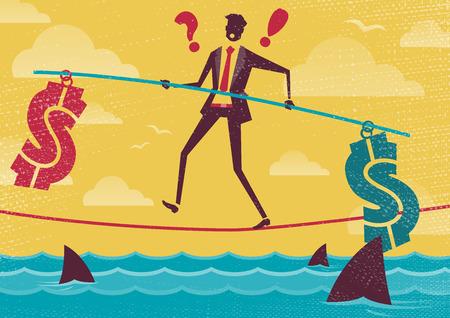 Great illustration of Retro styled Businessman walks the Dangerous Business Landscape whilst balancing Financial Burdens.
