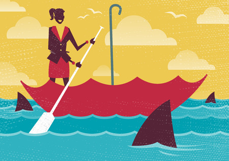 navigating: Great illustration of Retro styled Businesswoman carefully navigating Shark infested waters using her umbrella for added protection.