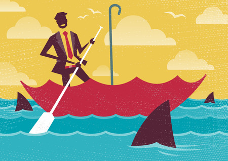 waters: Great illustration of Retro styled Businessman carefully navigating Shark infested waters using his umbrella for added protection.