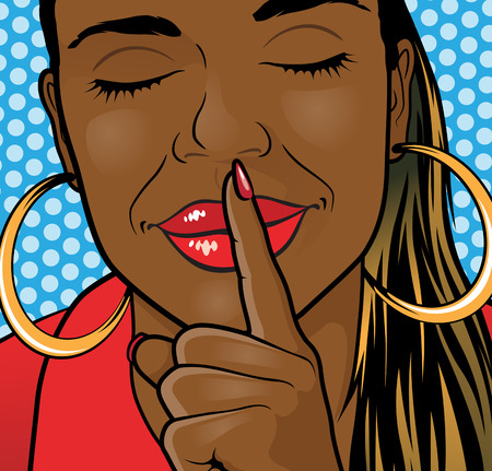 nude black woman: Pop Art Styled Illustration of aa African American Girl putting her forefinger to her lips to indicate silence is required.