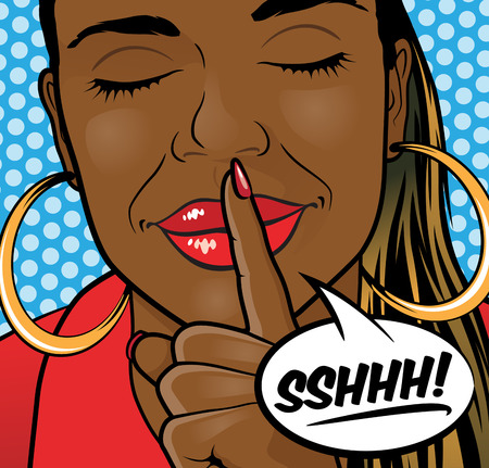 Pop Art Styled Illustration of aa African American Girl putting her forefinger to her lips to indicate silence is required. Vector