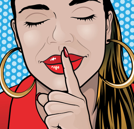 Pop Art Styled Illustration of a Girl putting her forefinger to her lips to indicate silence is required. Vector