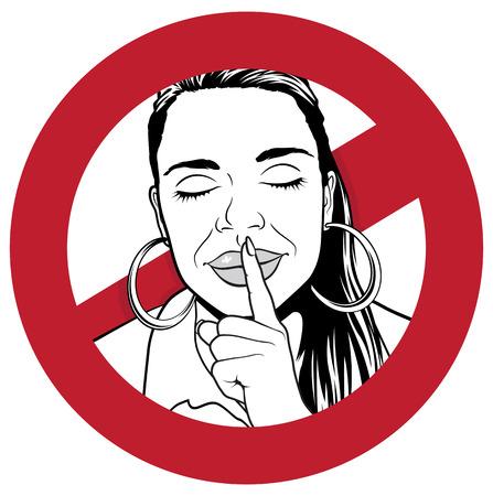 Grote illustratie van een waarschuwing met Meisje dat haar wijsvinger aan haar lippen om stilte te geven is vereist.