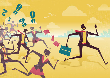 man: Great illustration of Retro styled Businessman racing away from the chasing pack of business rivals to win first place in the business world.