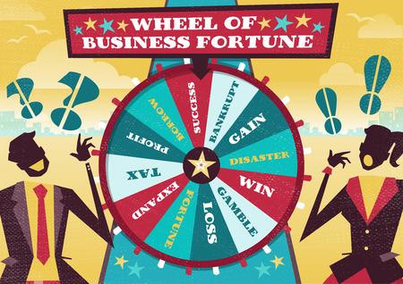 レトロの素晴らしいイラスト スタイル ビジネス ビジネス運、ビジネスの世界で 1 位を獲得することを望んでの大きな回転ホイールに金融先物取引