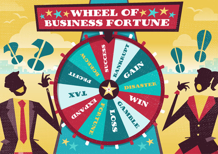 Great illustration of Retro styled Business rivals gambling their financial futures on the big spinning Wheel of Business Fortune hoping to win first place in the business world. Vector