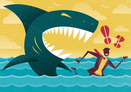 Great illustration of Retro styled Businessman Abandoned and helpless at sea in Shark infested waters and about to be eaten alive by a giant Killer Great White Shark. Illustration