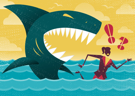 alive: Great illustration of Retro styled Businesswoman Abandoned and helpless at sea in Shark infested waters and about to be eaten alive by a giant Killer Great White Shark. Illustration