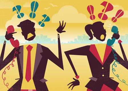 jefe enojado: Gran ejemplo de estilo retro Negocios rivales discutiendo sobre sus sus problemas de negocios financieros en los tel�fonos. Parece que puede haber sus cables cruzados. Vectores