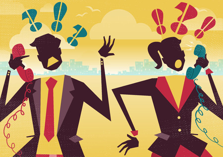 bad woman: Great illustration of Retro styled Business rivals arguing over their their financial business problems on telephones. It seems they may have their wires crossed.