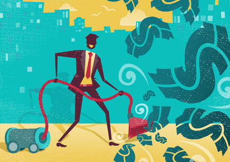 hoover: Great illustration of a businessman with the amazing idea to use a vacuum cleaner to suck up all the money and dollar bills floating in the air. Illustration