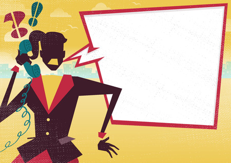 get across: Great illustration of a very Angry Retro styled Businesswoman with a large blank speech bubble with space to place text for discussion about financial business plans on a telephone. What better way to get the message across. Illustration