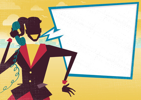 get across: Great illustration of Retro styled Businesswoman with a large blank speech bubble with space to place text for a Happy discussion about financial business plans on a telephone. What better way to get the message across. Illustration