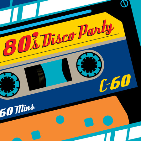超ファンキーなレトロな 80 年代スタイルのバナー フィーチャー老い C60 テープ カセット昔ながら。