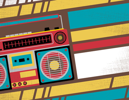 ghetto blaster: Retro Styled Club Flyer featuring Old School Ghetto Blaster Stereo in Funky Bright Colours Illustration