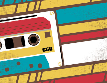 90s: Retro Styled Club Flyer featuring Old School Stereo Tape Cassette in Funky Bright Colours.