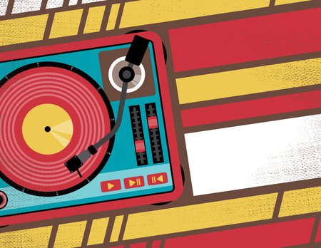party dj: Retro Styled Club Flyer featuring Old School Turntable in Funky Bright Colours Illustration