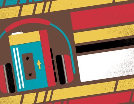 'retro styled': Retro Styled Club Flyer featuring Old School Stereo Walkman Tape Cassette Player in Funky Bright Colours.