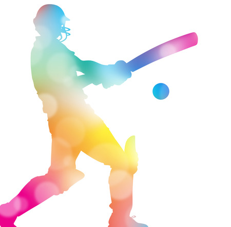 cricket sport: Colorful abstract illustration of a Cricket Player hitting a Six through a haze of summer blurs.