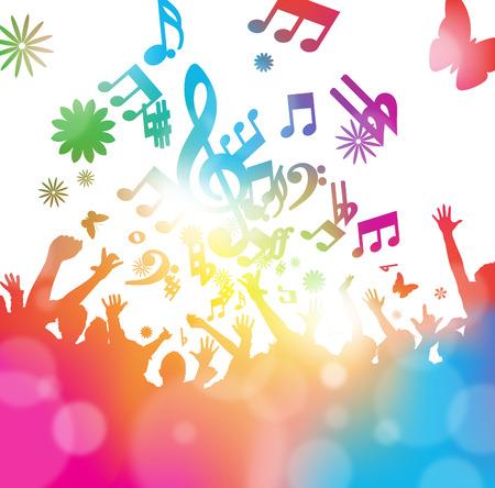 Colorful illustrazione astratta di un giovani che ballano e saltano attraverso un velo di note musicali e sfocature estivi. Archivio Fotografico - 38420978