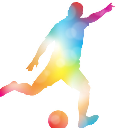 football silhouette: Colorful abstract illustration of a Soccer Player setting up to score a wonder strikers Goal in a Football match through a haze of summer blurs.