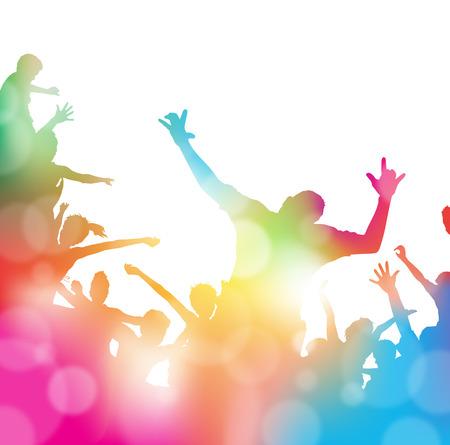 音符と夏の煙霧を介して踊る若い人々 と跳躍させてのカラフルな抽象的なイラストをぼかします。  イラスト・ベクター素材